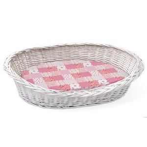 Weidenkorb Vollweide mit rosa Kissen