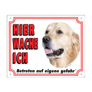 GRATIS Hunde Warnschild, Golden Retriever