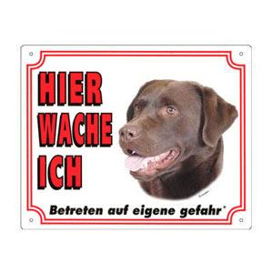 GRATIS Hunde Warnschild, Labrador schokoladebraun