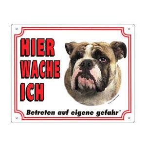 GRATIS Hunde Warnschild, Englische Bulldogge