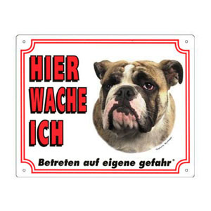 FREE Dog Warning Sign, Bulldog
