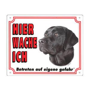 GRATIS Hunde Warnschild, Labrador schwarz