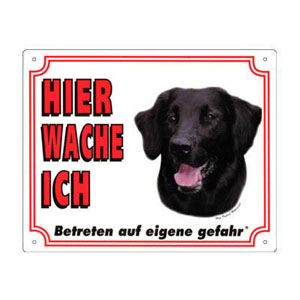 FREE Dog Warning Sign, Flat-Coated Retriever