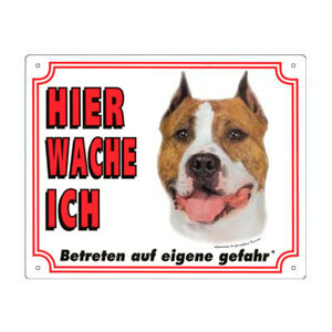 FREE Dog Warning Sign, American Staffordshire Terrier