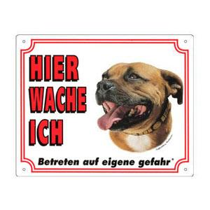 GRATIS Hunde Warnschild, Staffordshire Bullterrier