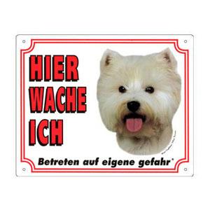 GRATIS Hunde Warnschild, West Highland White Terrier