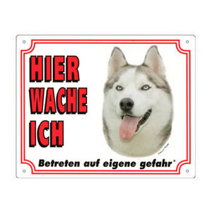FREE Dog Warning Sign, Siberian Husky