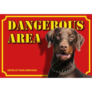 Hundewarnschild Dangerous Area, Dobermann