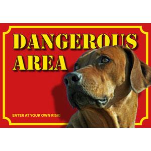 Hundewarnschild Dangerous Area, Rhodesian Ridgeback
