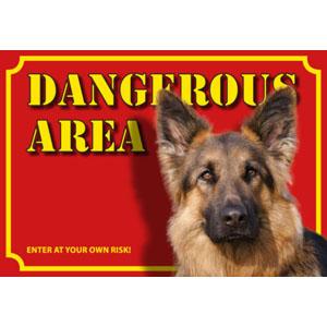 Dog Warning Label Dangerous Area, German Shepherd