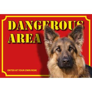 Dog Warning Label Dangerous Area, German Shepherd