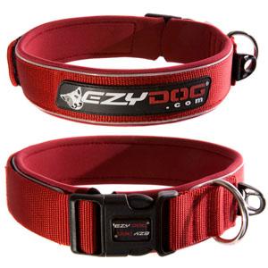 Ezydog - Extra Breites Neopren Halsband Rot