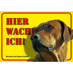 German Dog Warning Label Hier wache ich! - Rhodesian Ridgeback