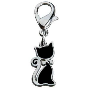 Katzenanhänger mit Schleife schwarz