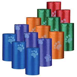 Dog Dirt Bags With Paws, 14 Rolls Of 15 Pcs