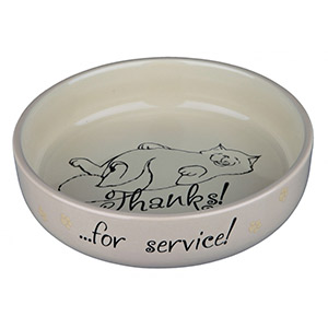 Flacher Keramiknapf Thanks ...for service! - Beige