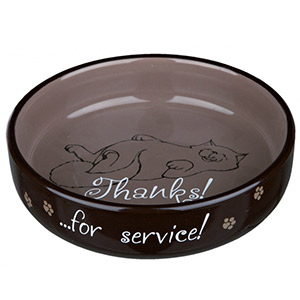 Flat Keramik Bowl Thanks ...for service! - Brown