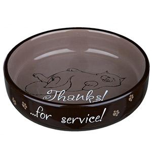 Flat Keramik Bowl Thanks ...for service! - Brown