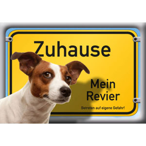 German Dog Warning Label Zuhause Mein Revier, Jack Russell