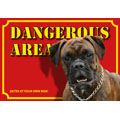 Dog Warning Label Dangerous Area, Boxer