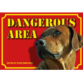 Dog Warning Label Dangerous Area, Rhodesian Ridgeback