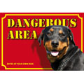 Dog Warning Label Dangerous Area, Rottweiler