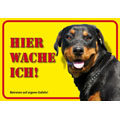 German Dog Warning Label Hier wache ich! - Rottweiler