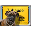 German Dog Warning Label Zuhause Mein Revier, Boxer