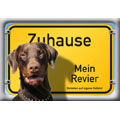 German Dog Warning Label Zuhause Mein Revier, Dobermann