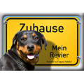 German Dog Warning Label Zuhause Mein Revier, Rottweiler